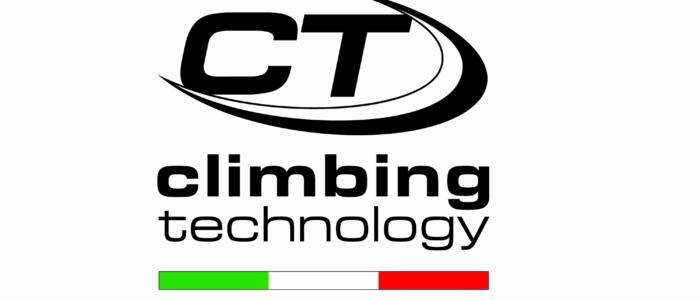 """Logo firmy Climbing Technology to litery CT otoczone od dołu i prawej strony łukiem, na dole podpis Climbing Technology i pasek w barwy flagi Włoch - zielony, biały, czerwony. Pod spodem napis w języku ang. """"Genialny Włoski Sprzęt"""""""