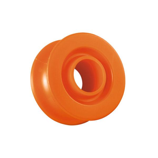 Pomarańczowy bloczek awaryjny Petzl Ultralegere wykonany z tworzywa sztucznego