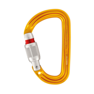 Żółty karabinek d-kształtny Petzl Sm'D wykonany ze stopów aluminium