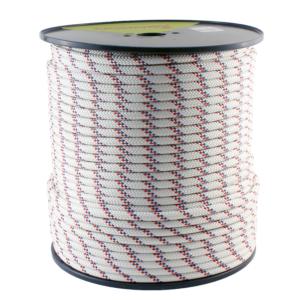 Biała lina półstatyczna Tendon Speleo z czerwonymi i niebieskimi elementami o grubości 10 mm