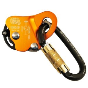 Pomarańczowy przyrząd autoasekuracyjny i zaciskowy Kong Back Up z wpiętym czarnym karabinkiem
