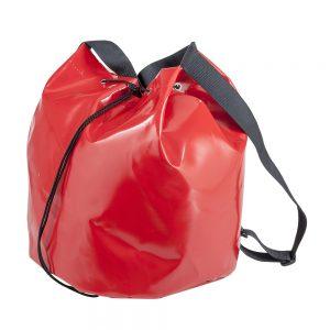 worek z materiału plandekowego w kolorze czerwonym