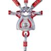 Srebrno-czerwony bloczek pojedynczy Camp Janus Pro z wpiętymi sześcioma karabinkami w otwory montażowe