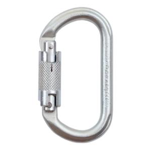 Srebrny, owalny karabinek stalowy Climbing Technology Oval A424 z zamkiem twistlock