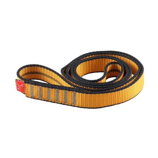 Zwinięta żółto-szara pętla poliamidowa Ocun o-sling PAD o długości 60 cm i szerokości 19 mm