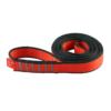 Zwinięta czerwono-szara pętla poliamidowa Ocun o-sling PAD o długości 80 cm i szerokości 19 mm