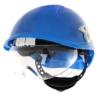 Niebieski kask przemysłowy Montana Protekt od przodu z zamontowanymi okularami ochronnymi