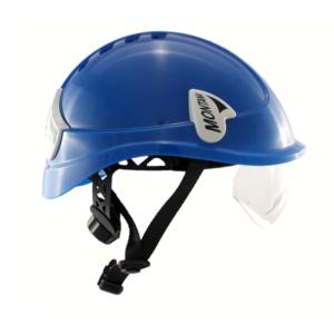 Niebieski kask przemysłowy Montana Protekt od boku z zamontowanymi okularami ochronnymi