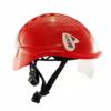 Czerwony kask do pracy na wysokości Protekt pokazany od boku z zamontowanymi okularami ochronnymi