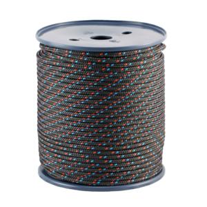 Czarna lina Tendon kevlar z czerwonymi i niebieskimi elementami o grubości 5 mm