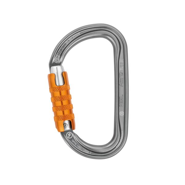 karabinek w kształcie litery D z pomarańczowym zamkiem typu Triact marki Petzl AMD
