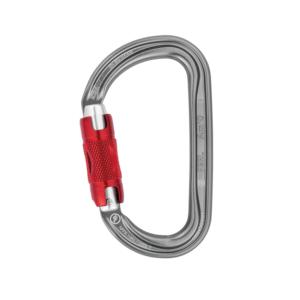 Karabinek aluminiowy w kształcie litery D z czerwonym zamkiem typu twist lock