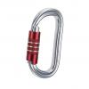 Aluminiowy karabinek o owalnym kształcie z czerwonym zamkiem typu triplex - 3lock marki Camp.