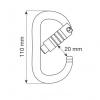 Wymiary karabinka oval 3 lock Camp Safety