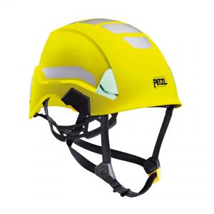 żółty kask z paskami odblaskowymi i elementami fluorescencyjnymi Strato Petzl