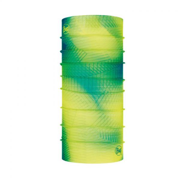 komin Buff we fluorescencyjne wzory w tonacji żółto - zielonej