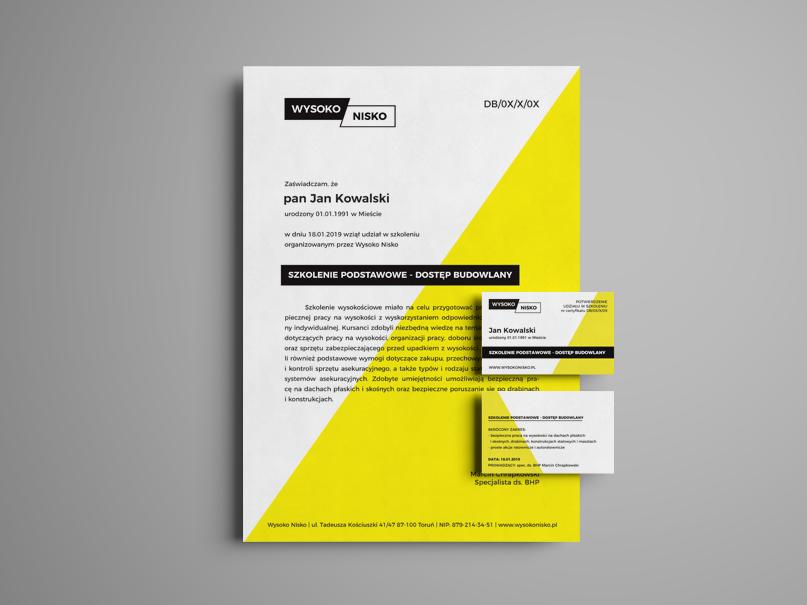 plastikowa karta, certyfikat szkoleniowy ze szkolenia wysokosciowego Wysoko Nisko