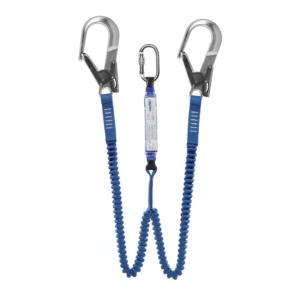 niebieska lonża z 2 ramionami z hakami, lonża z amortyzatorem Protekt